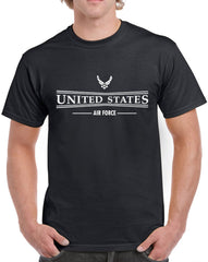 Men's United States Air Force with Symbol Heavy Cotton Classic Fit Round Neck Short Sleeve T-Shirts – S~3XL