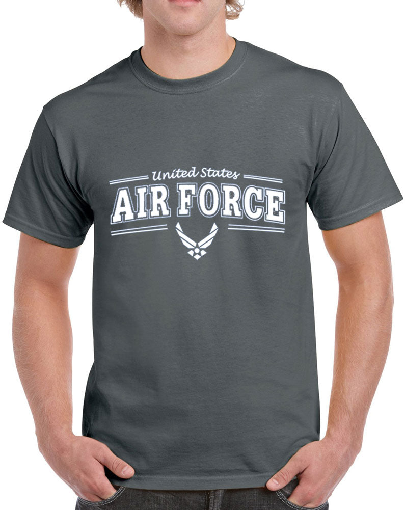 Men's United States Air Force with Blue Text Heavy Cotton Classic Fit Round Neck Short Sleeve T-Shirts–S~3XL