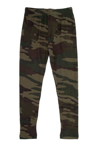 Girl's Dark Military Camouflage Pattern Print Leggings - Olive Green