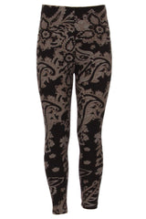 Girl's Taupe Color Paisley Pattern Print Leggings - Black Grey