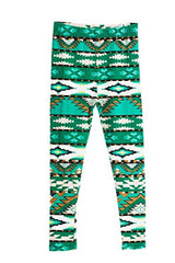 Girl's Silly and Cute Green Aztec Design Pattern Print Leggings