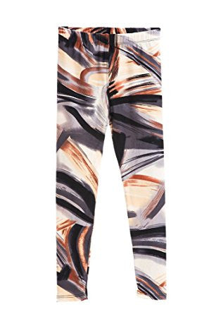Girl's Brown Beige Painting Strokes Pattern Print Leggings