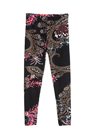 Girl's Fancy and Trendy Black Fuchsia Paisley Pattern Print Leggings