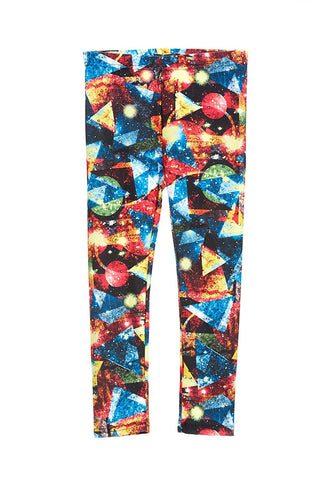 Girl's Triangle Neon Galaxy Pattern Leggings