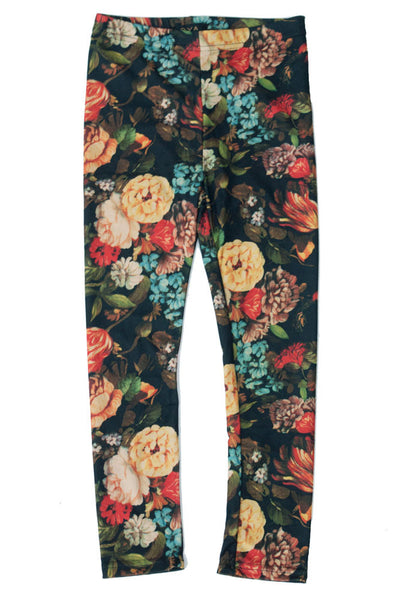 Girl's Simple Design Floral Pattern Leggings- All Season