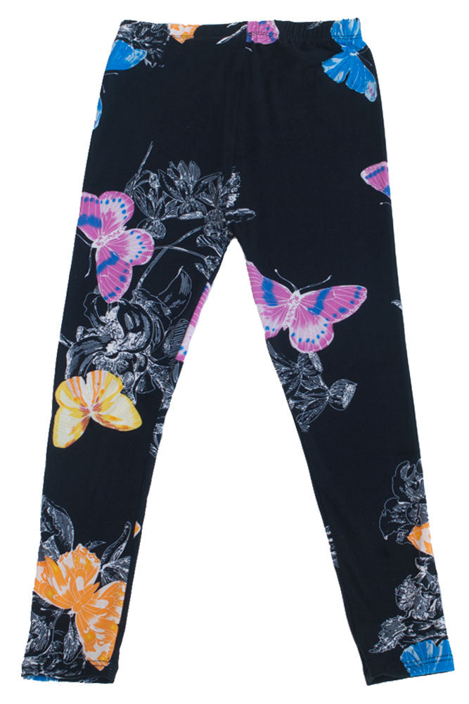 Girl's Cute and Appealing Black Butterfly Design Pattern Print Leggings