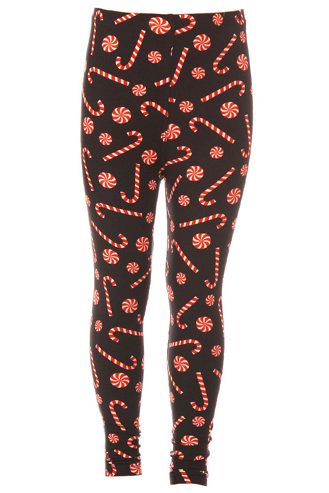 Girl's  Candy Cane Pattern Printed Leggings for Christmas