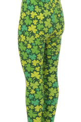 Kid's Saint Patrick's Day Shamrock Pattern Printed Leggings