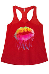 Women's Lips Like Sugar Graphic Print Polyester Tank Tops for Regular and PLUS - Small ~ 3XL