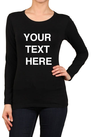 Women's Regular Your Text Here Solid Fitted Round Neck Long Sleeve Spandex Tops