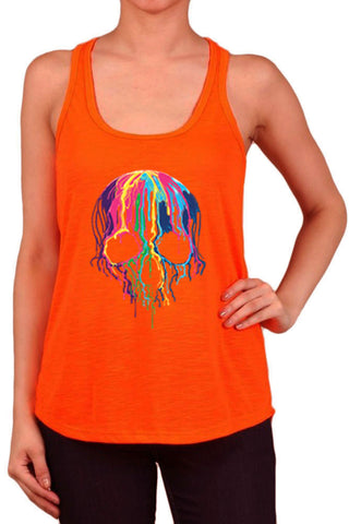 Women's Neon Melting Colorful Skull Print Polyester Tank Tops for Regular and PLUS - Small ~ 3XL
