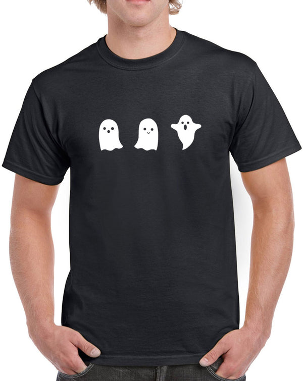 Men's Ghost Glow in the Dark Heavy Cotton Classic Fit Round Neck Short Sleeve T-Shirts – S ~ 3XL