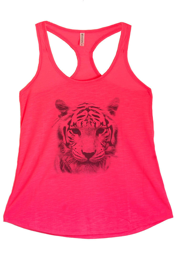 Women's PLUS Tiger with Blue Eyes Graphic Print Polyester Tank Top