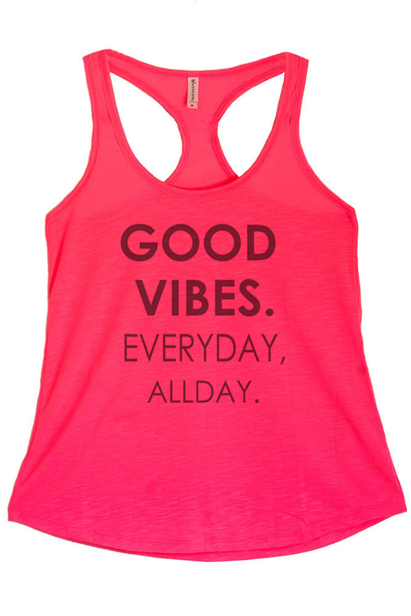 Women's Regular Good Vibes Printed Graphic Polyester Tank Top