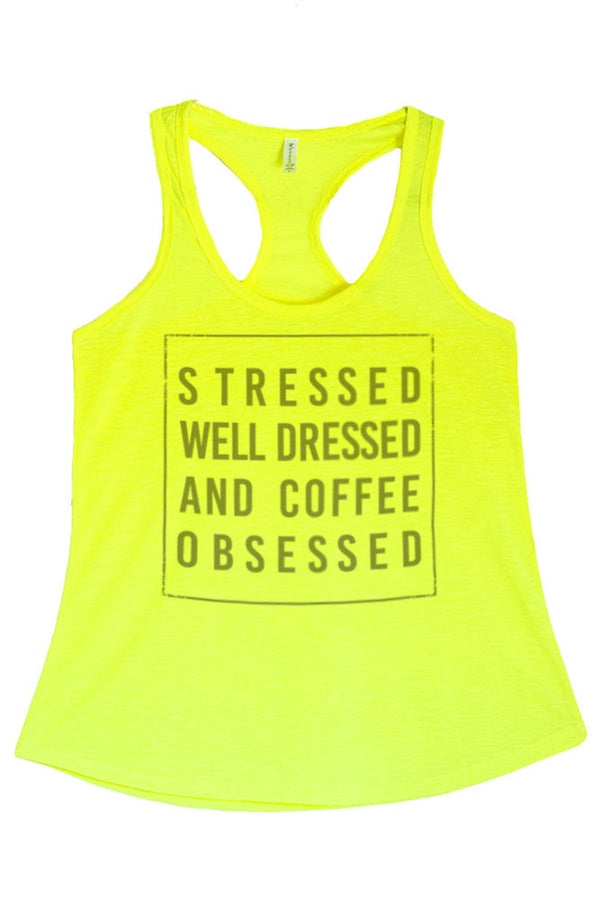 Women's PLUS Stressed, Well Dressed, and Coffee Obsessed Graphic Print Polyester Tank Top