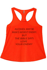 Women's PLUS Alcohol May Be Man's Worst Enemy But The Bible Says Love Your Enemy Graphic Print Polyester Tank Top