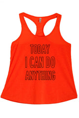 Women's PLUS Today I Can Do Anything Printed Graphic Polyester Tank Top