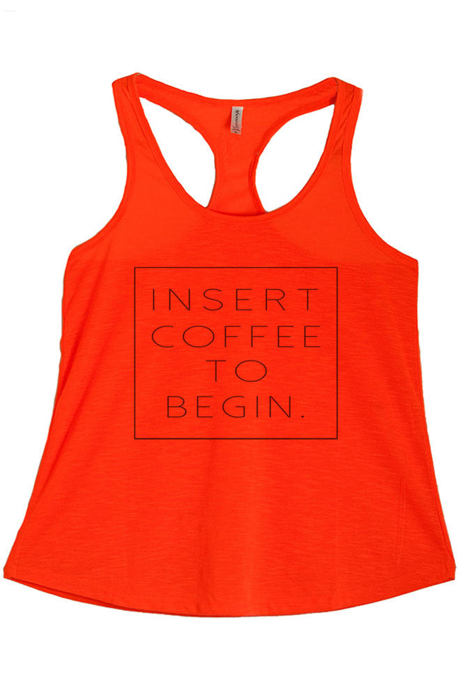Women's PLUS Insert Coffee to Begin Printed Graphic Polyester Tank Top