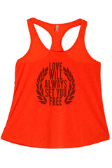 Women's PLUS Love Will Always Set You Free Printed Graphic Polyester Tank Top