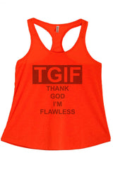 Women's Regular Thank God I'm Flawless Graphic Print Polyester Tank Top