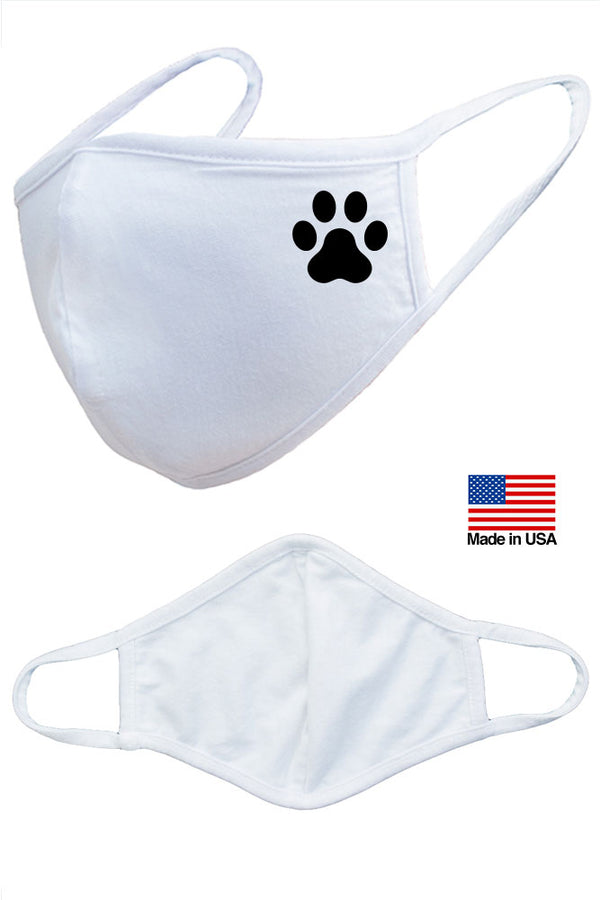 Dog Paw Reusable Washable Cotton Face Masks - Made in USA