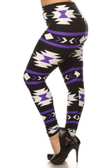 Women's Plus Aztec and Stripe Pattern Print Leggings