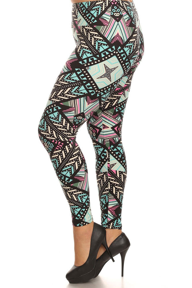 Women's Plus Feather and Stripe Pattern Print Leggings - Black Sky
