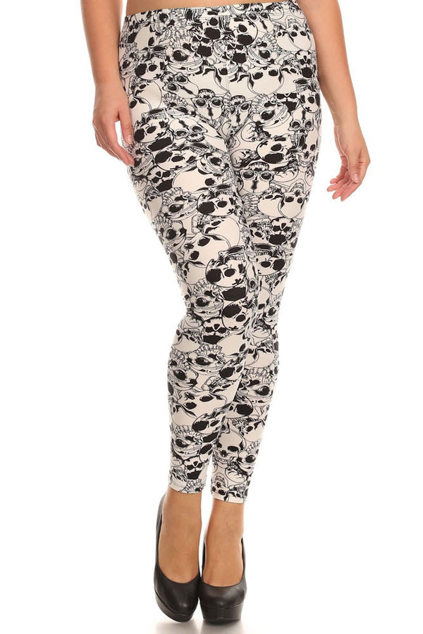 Women's Plus Catacombs of Paris Pattern Print Leggings - Halloween White Skull