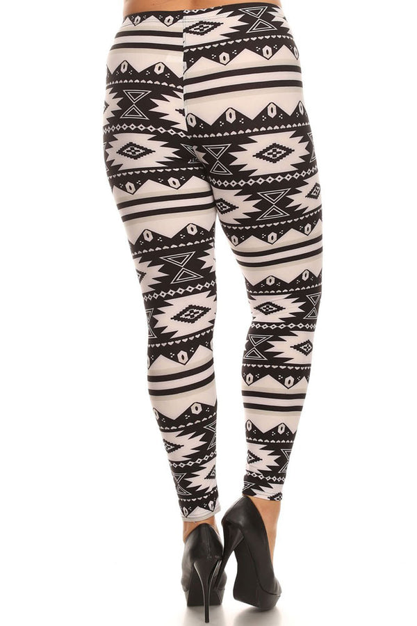 Women's Plus American Indian Aztec Pattern Print Leggings - White Black
