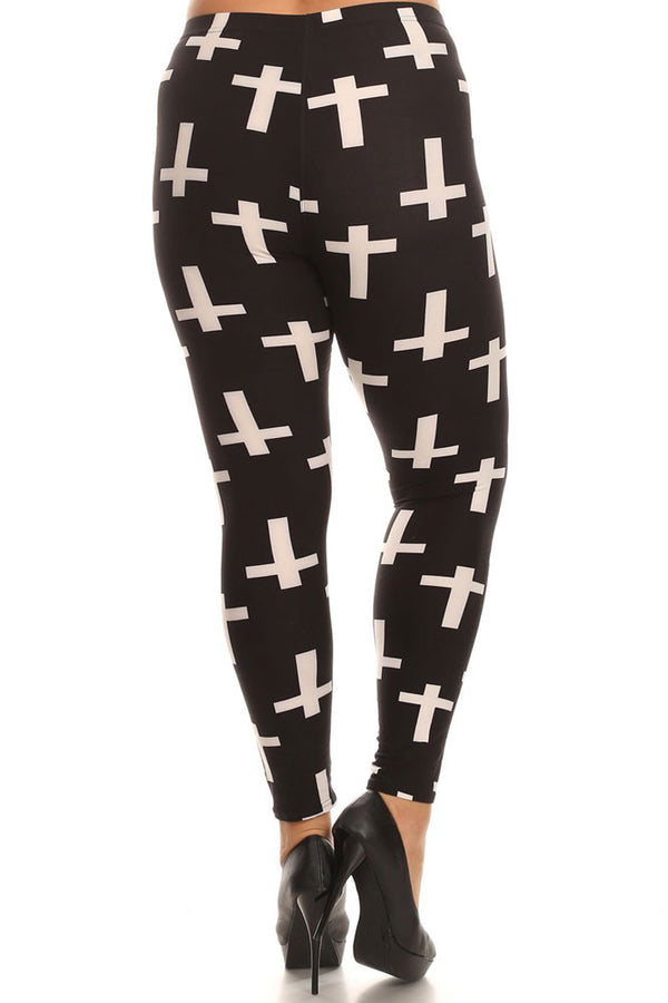 Women's Plus Christian Cross Pattern Print Leggings - Black White
