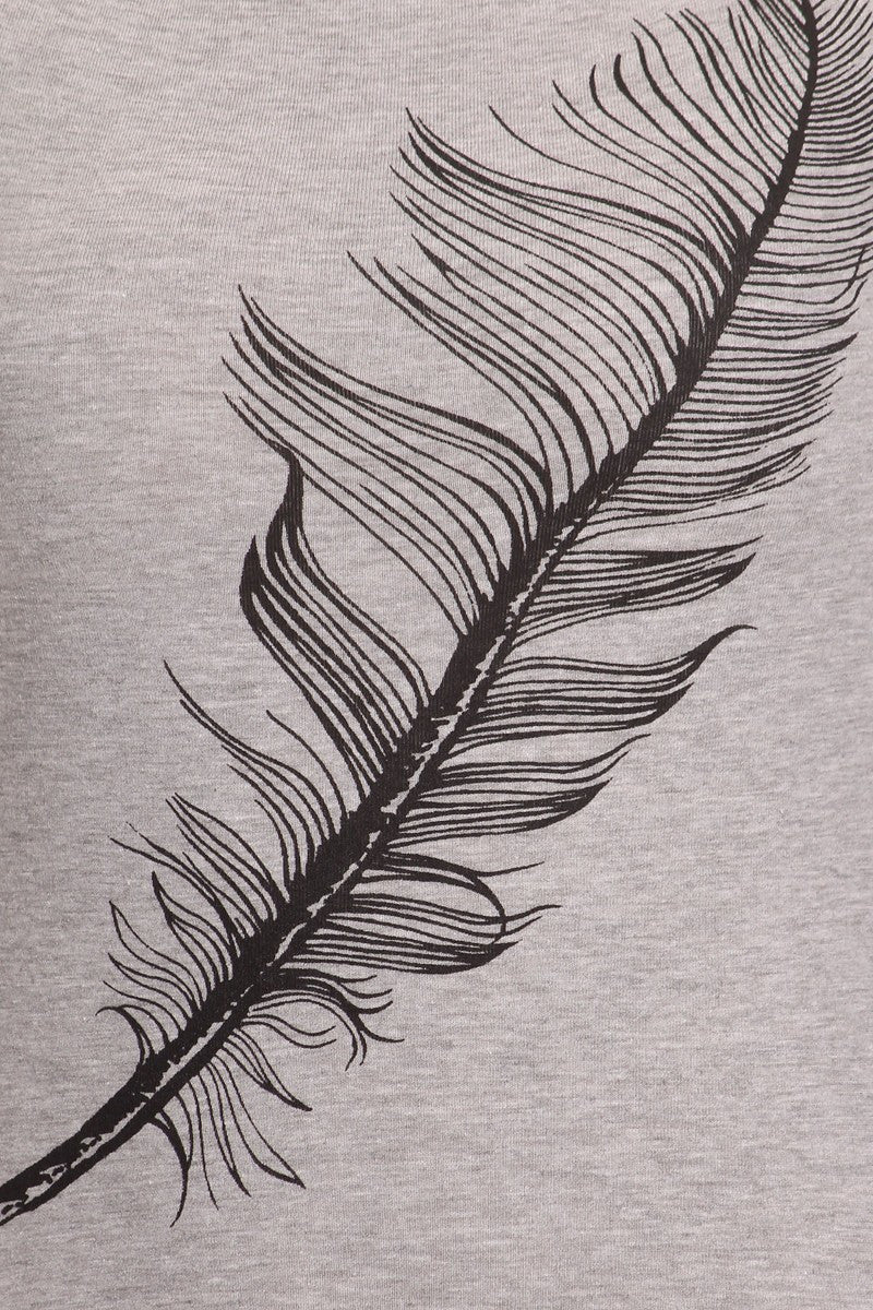 Women's Regular Beautiful Big Feather Print Short Sleeve Tee