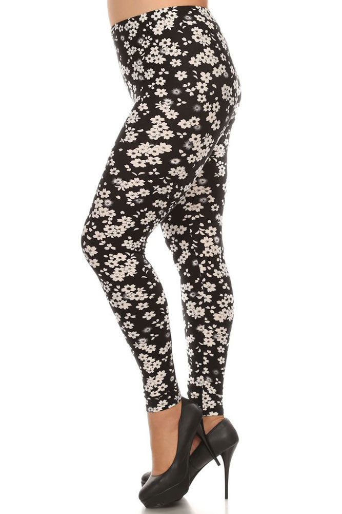 Women's Plus Little Flower Pattern Print Leggings - Black White