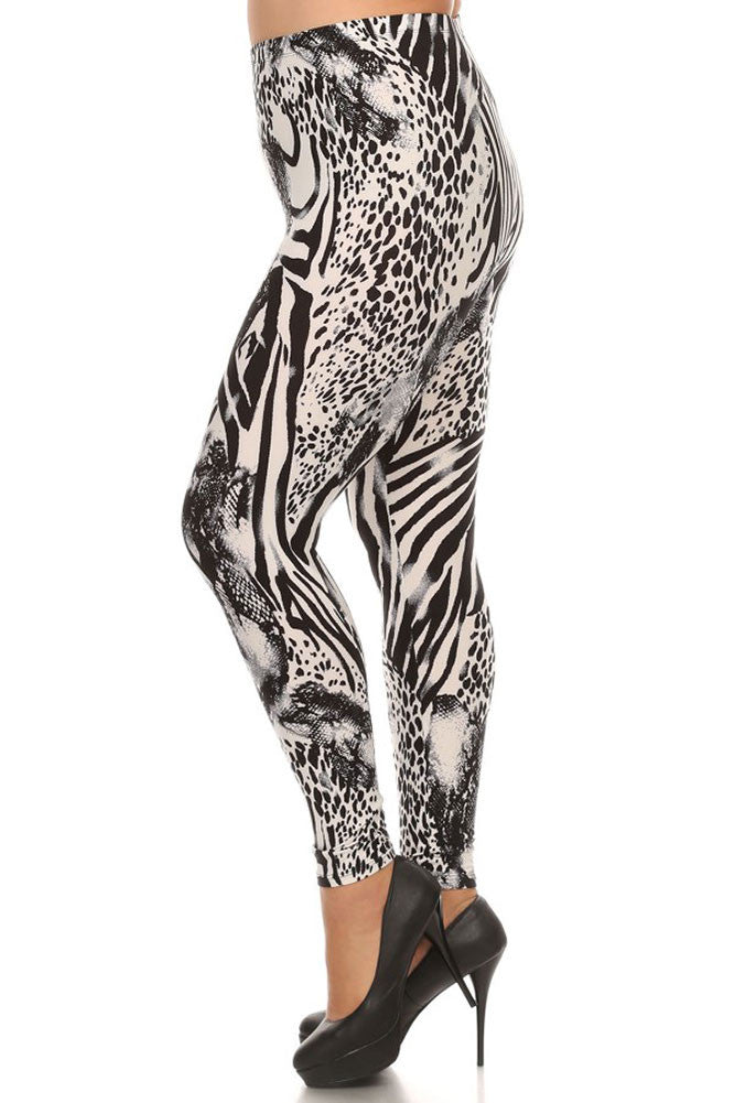 Women's Plus Mixed Zebra and Leopard Animal Pattern Print Leggings - White Black