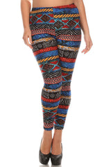 Women's Plus Colorful Ancient Shape Pattern Print Leggings - Blue Yellow Red