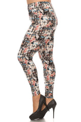 Women's Plus Abstract Paint Style Pattern Print Leggings - Black Sky Red