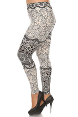 Women's Plus Light and Dark Contrast Floral Pattern Print Leggings - White Black