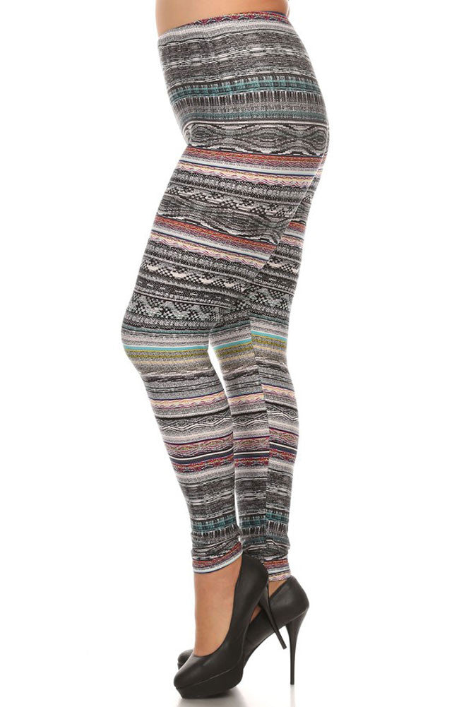 Women's Plus Mixed Color Splendid Tribal Pattern Print Leggings - Black Grey Red