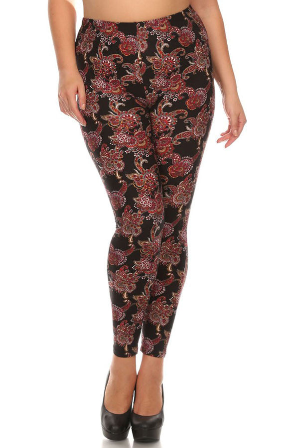 Women's Plus Gorgeous Red Paisley Pattern Print Leggings - Black Red