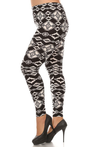 Women's Plus American Indian Tribal Pattern Print Leggings - Black White