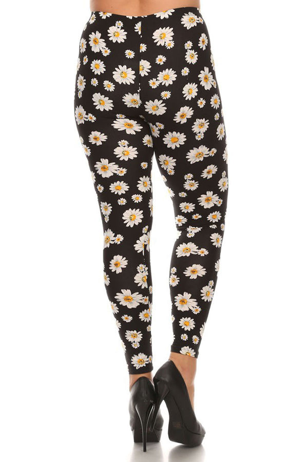 Women's Plus Colorful Daisy Flower Pattern Printed Leggings