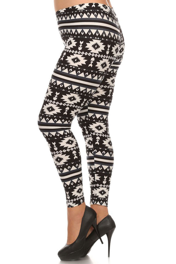 Women's Plus American Indian Navajo and Stripe Pattern Print Leggings - Black White