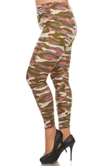 Women's Plus Army Camouflage Pattern Print Leggings - Olive Pink Purple