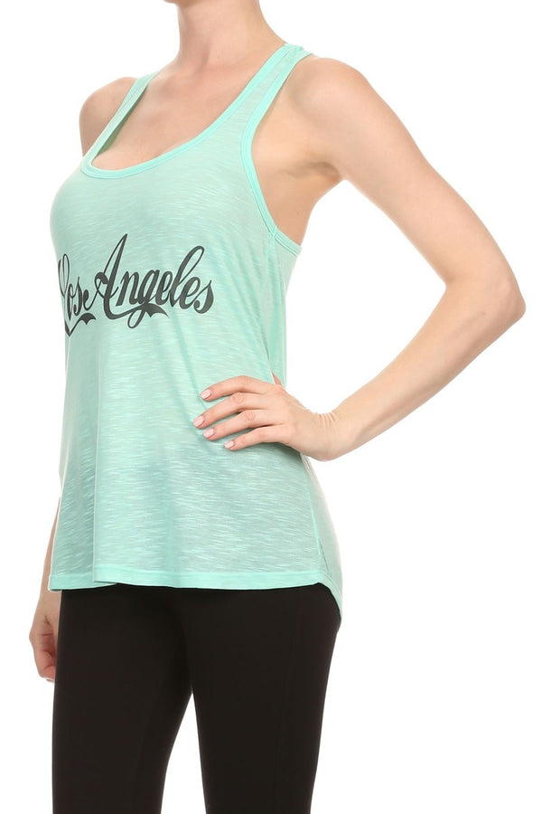PLUS Women's Regular Los Angeles Print Sleeveless Printed Tank Top with a racerback