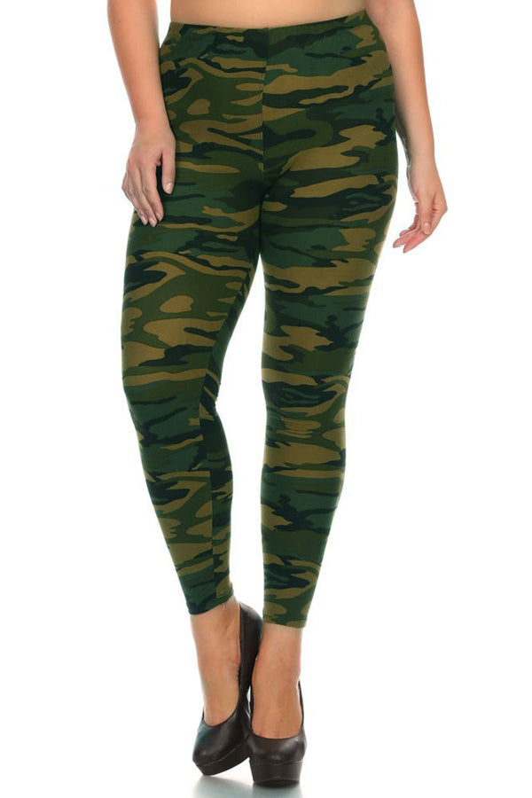 Women's Plus Dark Military Camouflage Pattern Print Leggings - Olive Green