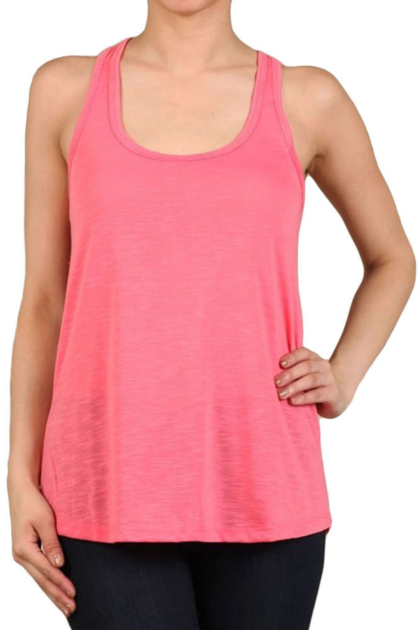 Women's PLUS Solid Color Polyester Sleeveless Slub Knit Tank Tops - 1XL~3XL
