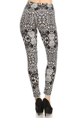 Women's Regular Medallion Pattern Print Stretchable Leggings - Black White