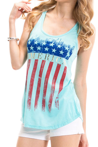 Women's Regular American Flag Stars and Stripes Graphic Print Tank Top