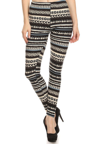 Women's Regular American Indian Navajo Pattern Print Leggings - Black Blue