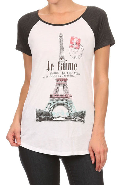 Women's Regular Je taime French Graphic Print Short Sleeve Tops