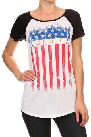 Women's Regular American Flag Stars Graphic Print Short Sleeve Tops